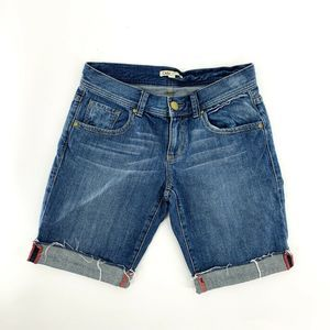 CAbi Distressed Cuffed Hem Bermuda Denim Shorts